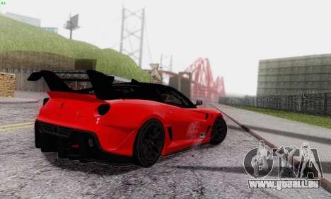 Ferrari 599XX Evolution für GTA San Andreas obere Ansicht