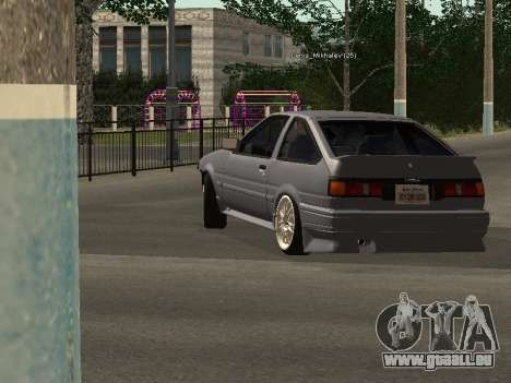 Toyota Corolla GTS Drift Edition pour GTA San Andreas sur la vue arrière gauche