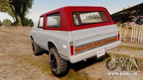 Chevrolet K5 Blazer pour GTA 4 Vue arrière de la gauche