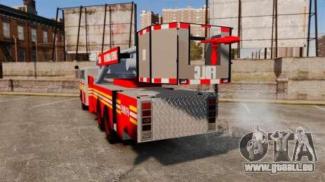 MTL Firetruck Tower Ladder [ELS-EPM] pour GTA 4 Vue arrière de la gauche