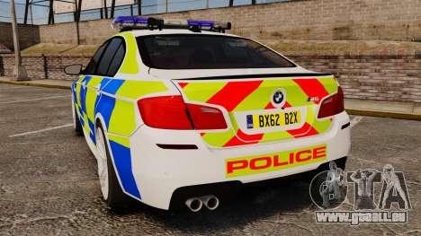 BMW M5 Greater Manchester Police [ELS] pour GTA 4 Vue arrière de la gauche