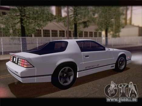 Chevrolet Camaro IROC-Z 1990 für GTA San Andreas Unteransicht