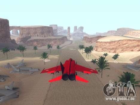 MiG 25 pour GTA San Andreas sur la vue arrière gauche