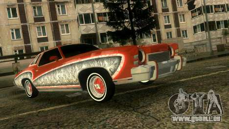 Chevy Monte Carlo Lowrider pour une vue GTA Vice City de l'intérieur