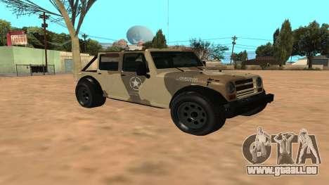 Crusader GTA 5 pour GTA San Andreas laissé vue
