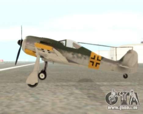 Focke-Wulf FW-190 F-8 pour GTA San Andreas laissé vue