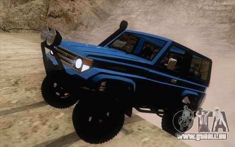 Toyota Fj70 4x4 2008 pour GTA San Andreas sur la vue arrière gauche