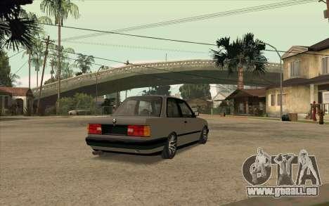 BMW E30 Stance pour GTA San Andreas sur la vue arrière gauche