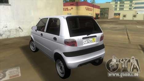 Daewoo Matiz pour GTA Vice City sur la vue arrière gauche