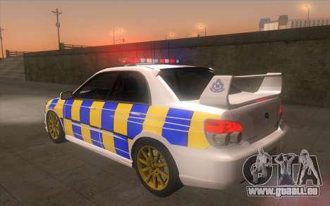 Subaru Impreza 2006 WRX STi Police Malaysian pour GTA San Andreas laissé vue