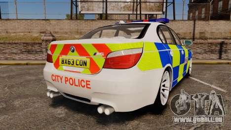 BMW M5 E60 City Of London Police [ELS] für GTA 4 hinten links Ansicht