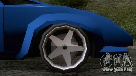 Infernus 80s pour GTA San Andreas sur la vue arrière gauche