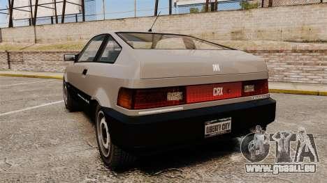Blista CRX pour GTA 4 Vue arrière de la gauche