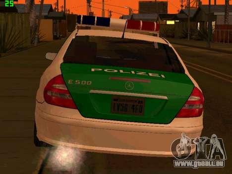 Mercedes-Benz  E500 Polizei für GTA San Andreas zurück linke Ansicht
