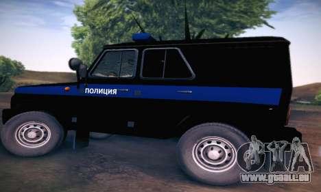 UAZ Hunter-Polizei für GTA San Andreas zurück linke Ansicht