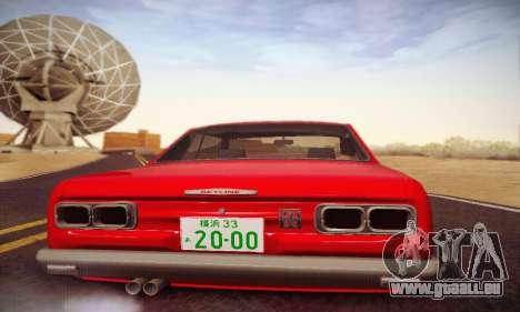 Nissan Skyline 2000GTR 1967 Hellaflush für GTA San Andreas obere Ansicht