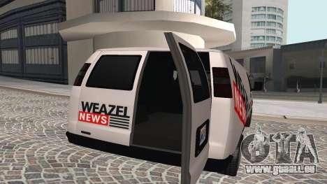Newsvan Rumpo GTA 5 pour GTA San Andreas sur la vue arrière gauche