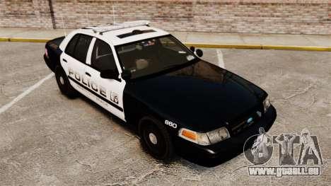 Ford Crown Victoria 2008 LCPD Patrol [ELS] pour GTA 4 est une vue de l'intérieur