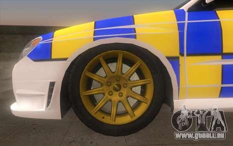Subaru Impreza 2006 WRX STi Police Malaysian für GTA San Andreas zurück linke Ansicht