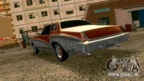 Chevy Monte Carlo Lowrider pour GTA Vice City sur la vue arrière gauche