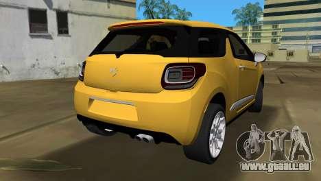Citroën DS3 2011 pour GTA Vice City sur la vue arrière gauche