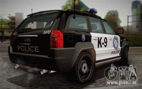 NFS Suv Rhino Light - Police car 2004 pour GTA San Andreas laissé vue