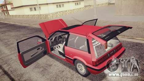 Honda Civic Si 1986 HQLM für GTA San Andreas Unteransicht