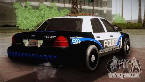 Ford Crown Victoria Police Interceptor 2009 für GTA San Andreas zurück linke Ansicht