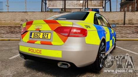 Audi S4 2013 Metropolitan Police [ELS] pour GTA 4 Vue arrière de la gauche