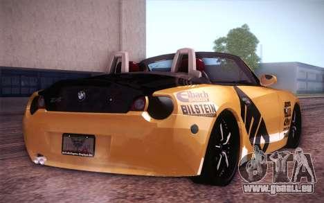 BMW Z4 V10 Stanced pour GTA San Andreas sur la vue arrière gauche