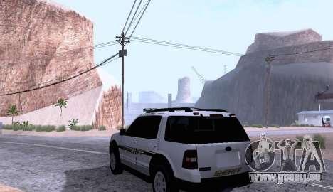 Ford Explorer Sheriff 2010 für GTA San Andreas zurück linke Ansicht