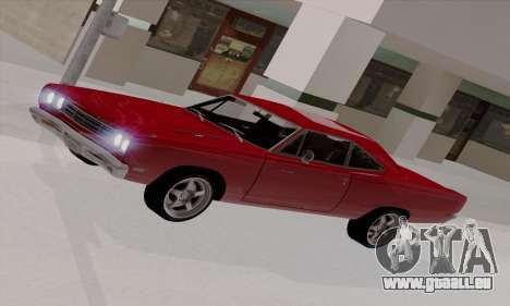 Plymouth Road Runner 383 1969 pour GTA San Andreas salon