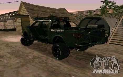 Ford F150 Raptor Unique Edition pour GTA San Andreas laissé vue