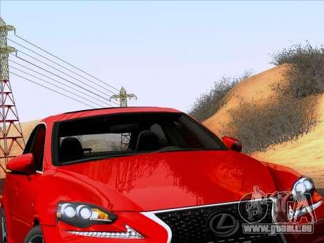 Lexus IS350 2014 F-SPORT pour GTA San Andreas vue arrière