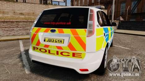 Ford Focus Estate British Police [ELS] pour GTA 4 Vue arrière de la gauche