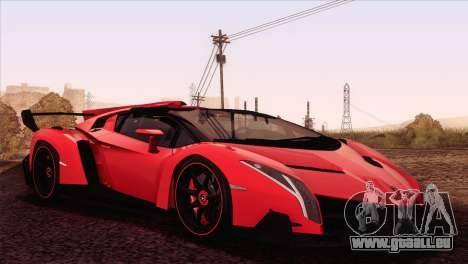 Lamborghini Veneno Roadster LP750-4 2014 pour GTA San Andreas laissé vue