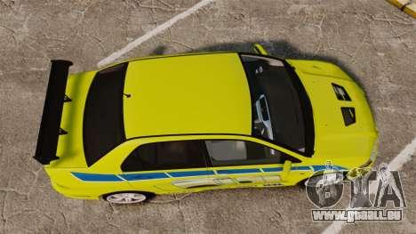 Mitsubishi Lancer Evolution VII 2002 für GTA 4 rechte Ansicht
