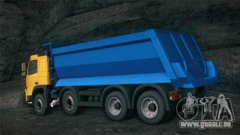 Volvo FM12 8X4 Dumper pour GTA San Andreas vue arrière