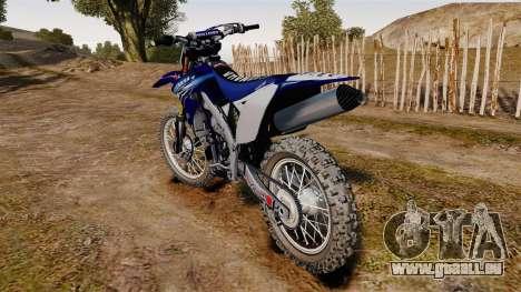 Kawasaki KX250F (Yamaha) pour GTA 4 Vue arrière de la gauche
