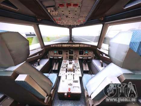 Airbus A320 JetBlue pour GTA San Andreas vue intérieure