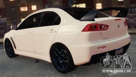 Mitsubishi Lancer Evolution X 2008 pour GTA 4 Vue arrière de la gauche