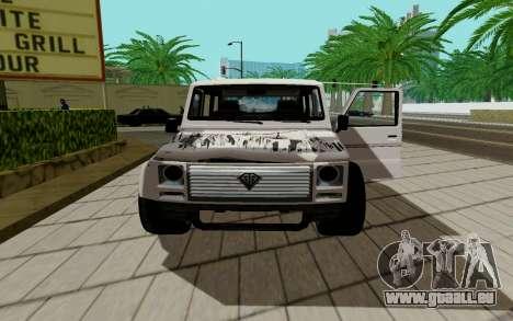 Benefactor DUBSTA pour GTA San Andreas sur la vue arrière gauche