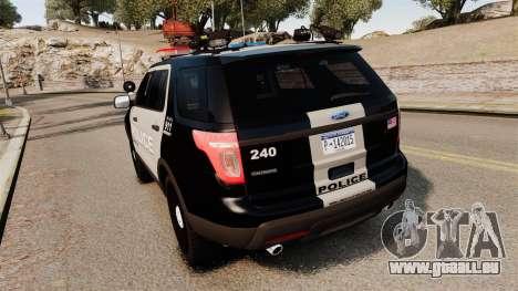 Ford Explorer 2013 LCPD [ELS] Black and Gray pour GTA 4 Vue arrière de la gauche