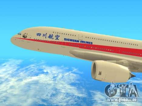Airbus  A380-800 Sichuan Airlines pour GTA San Andreas sur la vue arrière gauche