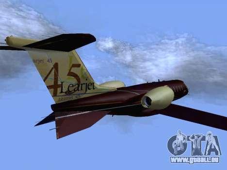 Bombardier Learjet 45 für GTA San Andreas zurück linke Ansicht
