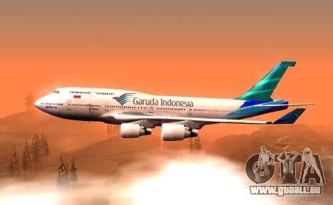 Boeing 747-400 Garuda Indonesia für GTA San Andreas linke Ansicht