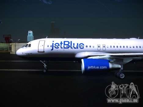 Airbus A320 JetBlue pour GTA San Andreas sur la vue arrière gauche