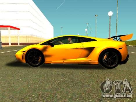 Lamborghini Gallardo Super Trofeo Stradale für GTA San Andreas zurück linke Ansicht