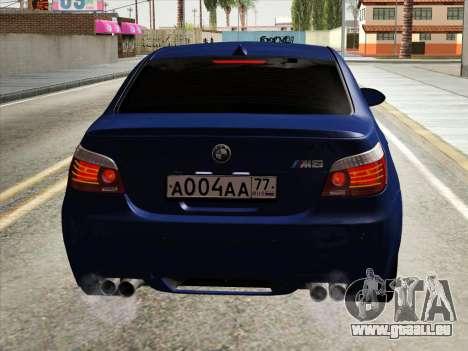 BMW M5 E60 2010 pour GTA San Andreas vue intérieure