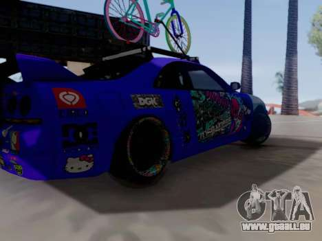 Nissan GT-R R33 HellaFlush V2 für GTA San Andreas Rückansicht